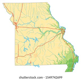 High detailed Missouri physical map.