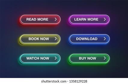 High detailed neon button set, vector illustration