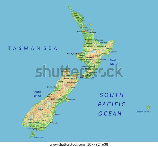 New Zealand Map Labeled.High Detailed New Zealand Physical Map Stock Vector Royalty Free