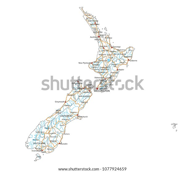 New Zealand Map Labeled.High Detailed New Zealand Road Map Stock Vector Royalty Free