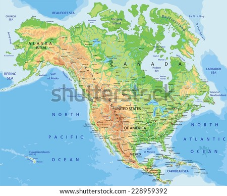 North America Map Physical.High Detailed North America Physical Map Stock Vector Royalty Free