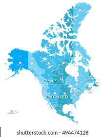 high detailed North America time zones map. All elements separated in detachable and labeled layers