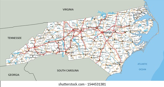 High detailed North Carolina road map with labeling.