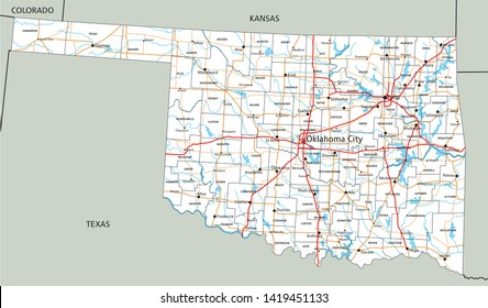 High detailed Oklahoma road map with labeling.