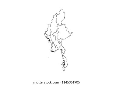High detailed outline/contour/shape vector map with counties,regions,states of myanmar. vector illustration on white background.