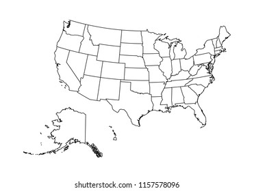 High detailed outline/contour/shape vector map with counties,regions,states of usa. vector illustration on white background.