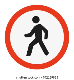 High Detailed Pedestrian Sign isolated on white background. Vector illustration eps 10.