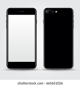 High Detailed Realistic Black Smartphone with White Screen Isolated on Background. Front and Back View For Print, Web, Application. Device Mockup Separate Groups and Layers. Easily Editable Vector.