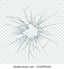 High detailed realistic broken glass isolated on transparent background. With cracks and bullet marks. Vector illustration.