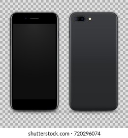 High Detailed Realistic Dark Grey Smartphone isolated on Transparent Background. Front and Back View For Print, Web, Application. Device Mockup Separate Groups and Layers. Easily Editable Vector