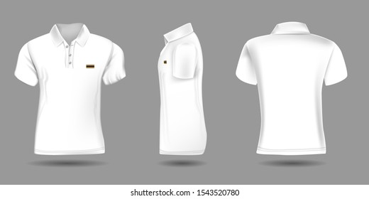 High detailed realistic polo t-shirt for your design. White color. Vector illustration. Front back and side view