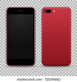 High Detailed Realistic Red Black Smartphone isolated on Transparent Background. Front and Back View For Print, Web, Application. Device Mockup Separate Groups and Layers. Easily Editable Vector