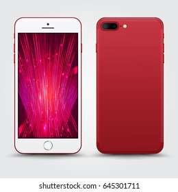 High Detailed Realistic Red Smartphone with Technology Wallpaper Screen Isolated. Front and Back View For Print, Web, Application. Device Mockup Separate Groups and Layers. Easily Editable Vector