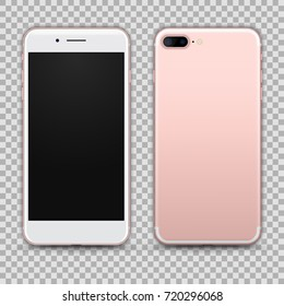 High Detailed Realistic Rose Gold Smartphone isolated on Transparent Background. Front and Back View For Print, Web, Application. Device Mockup Separate Groups and Layers. Easily Editable Vector