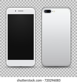High Detailed Realistic Silver Smartphone isolated on Transparent Background. Front and Back View For Print, Web, Application. Device Mockup Separate Groups and Layers. Easily Editable Vector