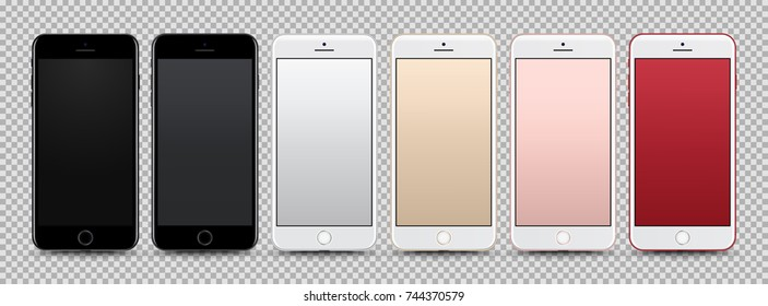High Detailed Realistic Smartphone Collection with Colorful Screen isolated on Background. Front View For Print, Web, Application. Device Mockup Separate Groups and Layers. Easily Editable Vector.