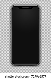 High Detailed Realistic Smartphone isolated on Transparent Background. Front View For Print, Web, Apps, Infographic and Presentation. Device Mockup Separate Groups and Layers. Easily Editable Vector.