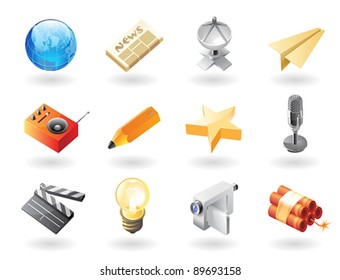 High detailed realistic vector icons for mass media