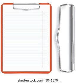 high detailed red clipboard and paper sheet  (vector, CMYK)