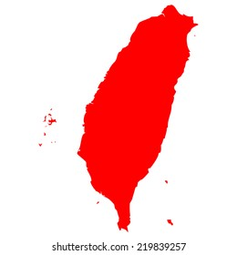High detailed red vector map - Taiwan