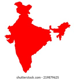 High detailed red vector map - India