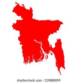 High detailed red vector map - Bangladesh