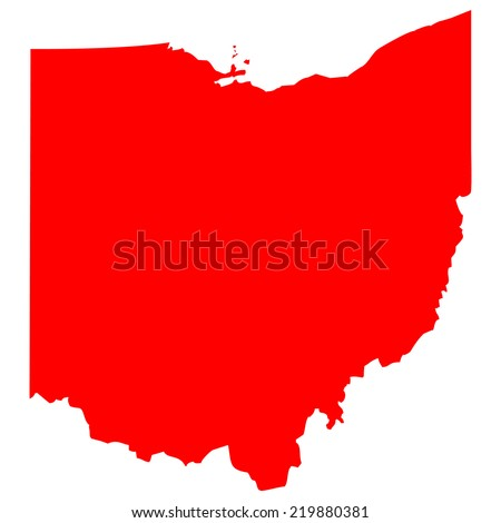 High Detailed Red Vector Map Ohio Stock Vector Royalty Free