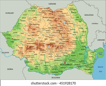 High detailed Romania physical map with labeling.