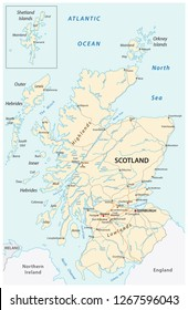 High detailed Scotland road map with labeling