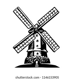 High detailed sign of an old Windmill. Hand drawn vector illustration. Retro style. Logo.