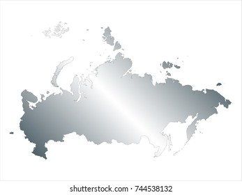 High Detailed Silver Map of Russia isolated on white background. editable vector illustration.