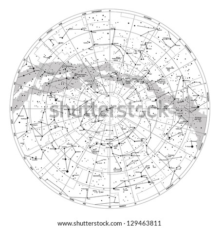 High Detailed Sky Map Northern Hemisphere Stock Vector Royalty Free