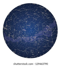 High detailed sky map of Southern hemisphere with names of stars and constellations colored vector