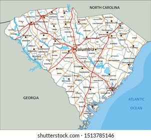 High detailed South Carolina road map with labeling.
