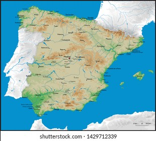 Map Of Spain Detailed.Map Of Spain Images Stock Photos Vectors Shutterstock