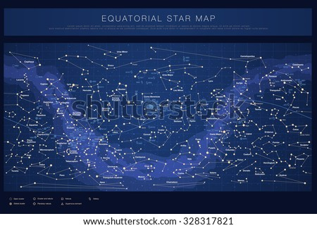 High detailed star map with names of stars, contellations and Me