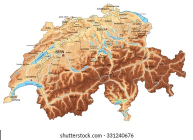 High detailed Switzerland physical map with labeling.