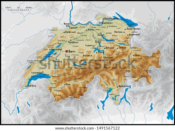 High Detailed Switzerland Physical Map Cities Stock Vector ...