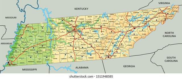 High detailed Tennessee physical map with labeling.