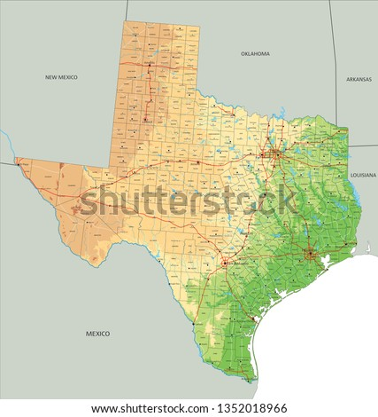 Physical Map Of Texas.High Detailed Texas Physical Map Labeling Stock Vector Royalty Free