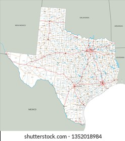 High detailed Texas road map with labeling.
