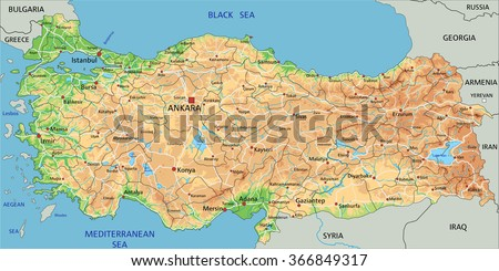 High Detailed Turkey Physical Map Labeling Stock Vector (Royalty ...