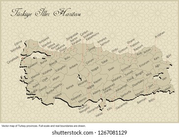 High detailed Turkey provinces map. All province maps are available as separate usable vectors.