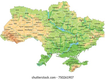 High detailed Ukraine physical map with labeling.