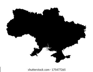High detailed Ukraine vector map silhouette isolated on white background. Ukraine map silhouette.