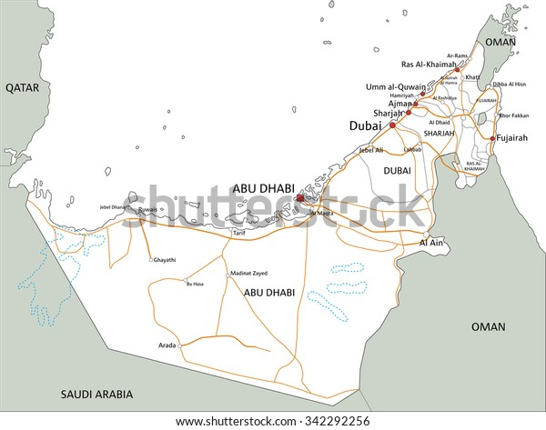 High Detailed United Arab Emirates Road Stock Vector ...