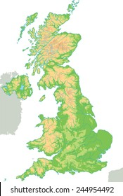 High detailed United Kingdom physical map.