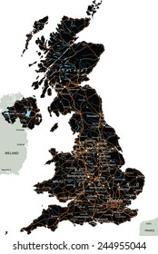 High detailed United Kingdom road map with labeling.