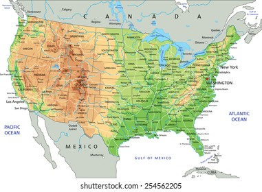 High detailed United States of America physical map with labeling.