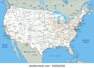 High Detailed Usa Road Maps Stock Vectors, Images & Vector ...